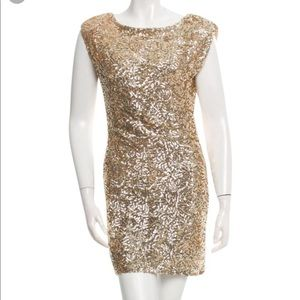 Alice and Olivia Gold Sequin Dress size Small